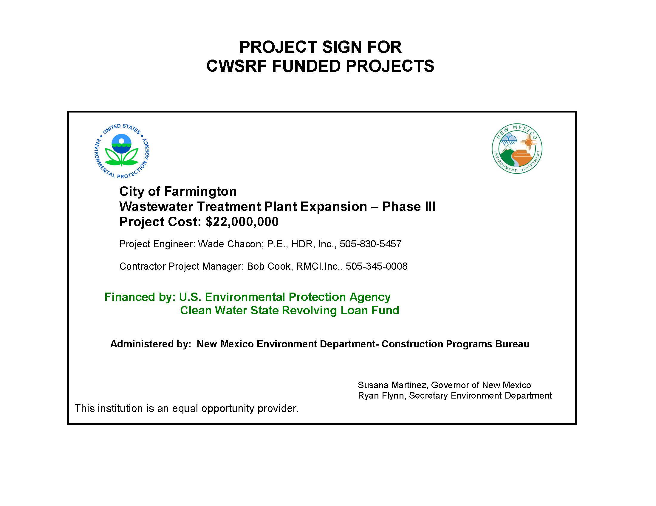 COF Wastewater Treatment Plant CWSRF Project Sign